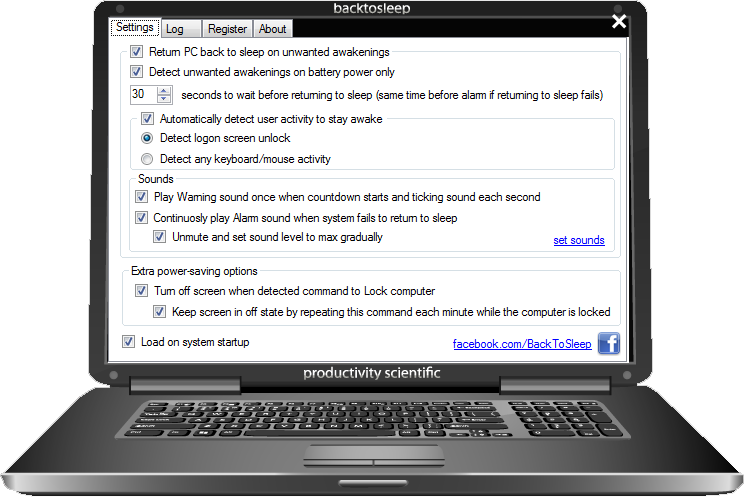 BackToSleep protects laptop in a sleep mode